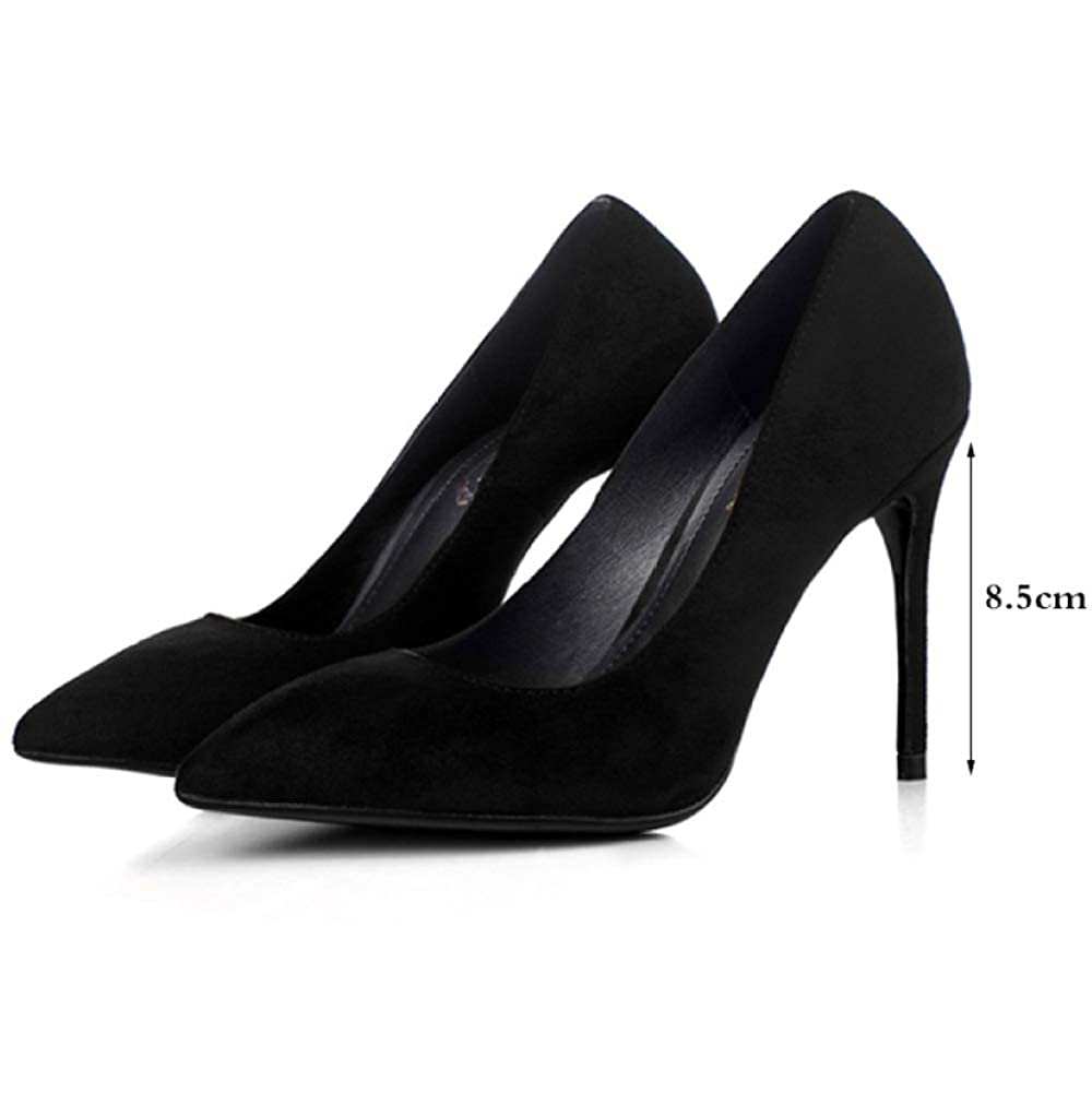 QSCG QSCG QSCG Damen Scrub Suede Schwarz High Heels Sexy Pumps Stiletto Spitz Damen Court Schuhe Work Party 185232