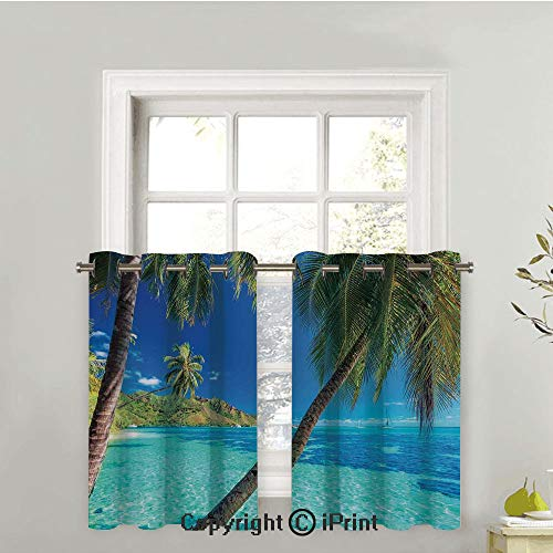 - Kitchen Tier Curtains Casual Weave Cafe Curtains Short Curtains for Bathroom Half Window Curtains,2 Panels,Image of a Tropical Island with the Palm Trees and Clear Sea Beach Theme Print,42
