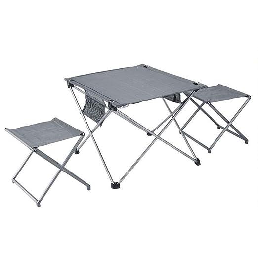 MDBYMX Mesa de Camping Plegable Mesa Plegable y Juego de 2 sillas ...