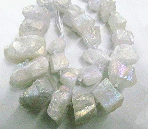 15-40mm Matte-AB Mystic Naturel raw White Clear Crystal Rock Quartz Nuggets Pendant Beads