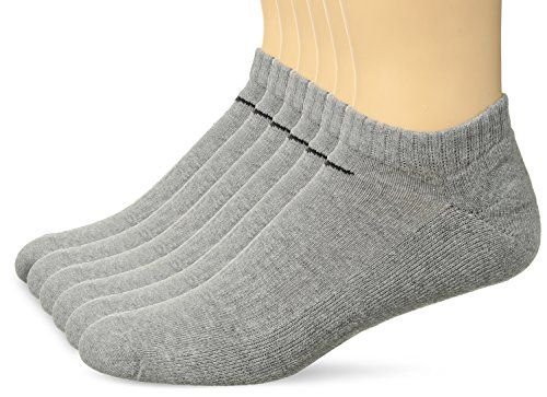 - NIKE Unisex Performance Cushion No-Show Socks with Bag (6 Pairs), Dark Grey Heather/Black, Large