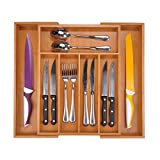 """Utoplike Bamboo Expandable Cutlery Organizer Tray: Holds Silverware, Flatware, Utensils, Cutlery, Accessories or Gadgets Size:11.5"""" - 18"""" W X 15""""d X 2 (Natural)"""