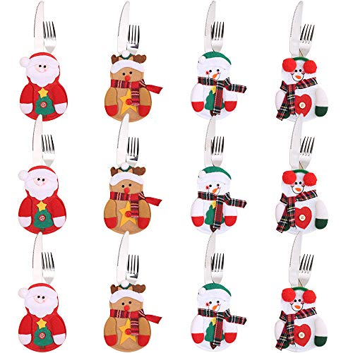Gudotra 12pcs Bolsa para Cubiertos Navidad Cubiertos Tenedores Bolsas para Decoración Navidad Mesa (Estilo6 12pcs)
