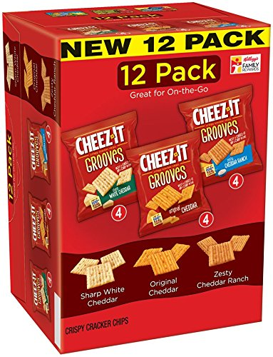 Sharp White Cheddar - Cheez-It Grooves Crispy Cheese Cracker Chips, Variety Pack, Original Cheddar, Sharp White Cheddar, Zesty Cheddar Ranch, 1 oz Bags, 12 count(Pack of 4)