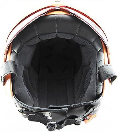 OPEN FACE SCOOTER HELMET OSBE GPA AIRCRAFT TORNADO ORANGE ARMY TR1 UK 57-58CM MEDIUM