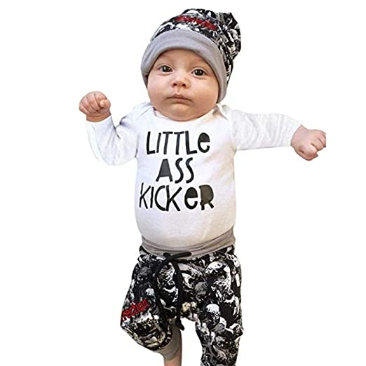 bf3caaf7c88 Windoson Newborn Baby Boy Outfits Clothes Letter T-Shirt+Pants+Print Hat  Outfits