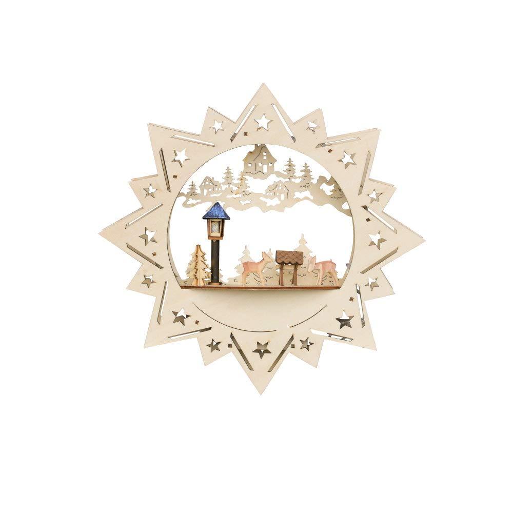 Weihnachtsdeko Fensterbild beleuchteter Stern mit Rehe und Raufe Weihnachtsdekoration aus Holz und LED Beleuchtung EIN schönes Weihnachten Wohnaccessoires & Deko
