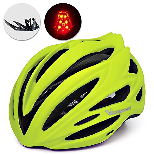 VICTGOAL Bike Helmet with Detachable Visor Back Light & Insect Net Padded Adjustable Sport Cycling Helmet Lightweight Bicycle Helmets for Adult Men and Women Youth Teenagers (CYellow)