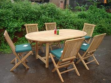 Salon de jardin en GRADE A TECK - La Baule - 6 chaises pliantes ...