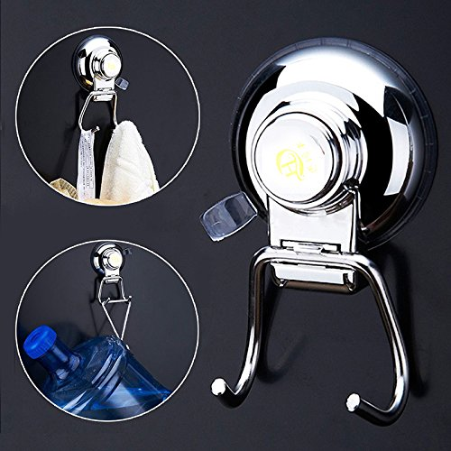 2PCS Super Powerful Button Type Vacuum Suction Cup Hook Holder - Stainless steel, durable,waterproof, not viscose free,Principle of physics,13Ib Max Carrying Capacity for Bathroom Robe Towel Hooks