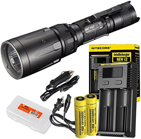 Nitecore Ultimate Bundle SRT7GT 1000 Lumens Smart Ring Tactical Flashlight with Two High Capacity 3500mAh Rechargeable Batteries, I2 Charger and LumenTac Battery Organizer