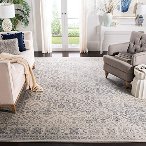 Safavieh Carnegie Collection CNG691K Vintage Cream and Dark Grey Distressed Area Rug 8 x 10