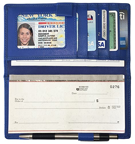Cobalt Blue RFID Leather Checkbook Cover with Credit Card Slots and Pen Holder