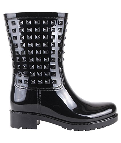 Stud Wellington Calf Boots (Black, US 10),[4056-BLK-8] by KRISP (Image #5)