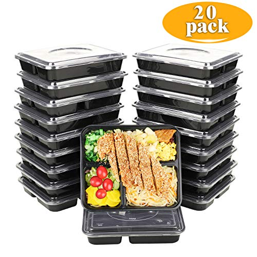 TD Design Meal Prep Containers Food Storage 3 Compartment with Lids leaking Proof BPA-Free Stackable Bento Box and Divided Lunch Box,Reusable Dishwasher and Freezer Safe(34 oz)
