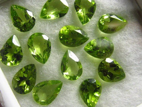 Cut Faceted Pear (Natural Peridot 8x11mm 25 Pieces Pear Faceted Cut Top Quality Green Color Loose Gemstone)