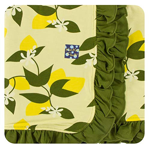 - KicKee Pants Little Girls Print Ruffle Stroller Blanket - Lime Blossom Lemon Tree, One Size