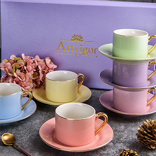 ARTVIGOR Straight Shaped Porcelain Set 220cc with Durable Gold Plated Rims and Handles for Specialty Drinks Coffee Cups and Saucers, 6-Piece Mixed Color (Cup Gold Plated)