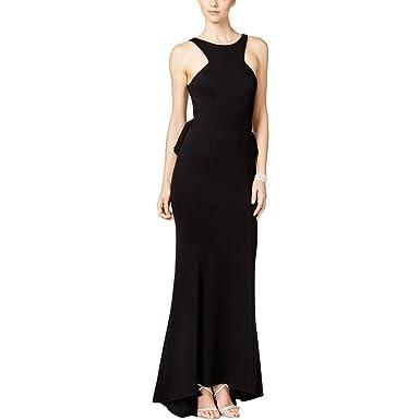 Xscape Womens Illusion Peplum Evening Dress Black 10