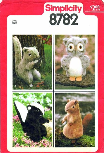 Simplicity 8782 Sewing Pattern Stuffed Squirrel Skunk Beaver Owl