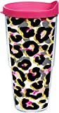 Tervis 1290254 Funky Animal Print Insulated Tumbler with Wrap and Fuchsia Lid, 24Oz, Clear