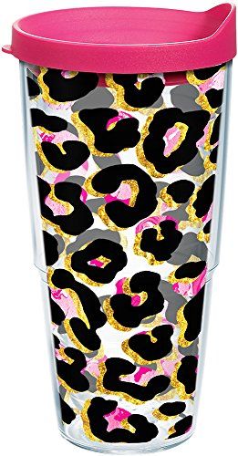 Tervis 1290254 Funky Animal Print Insulated Tumbler with Wrap and Fuchsia Lid, 24Oz, Clear by Tervis