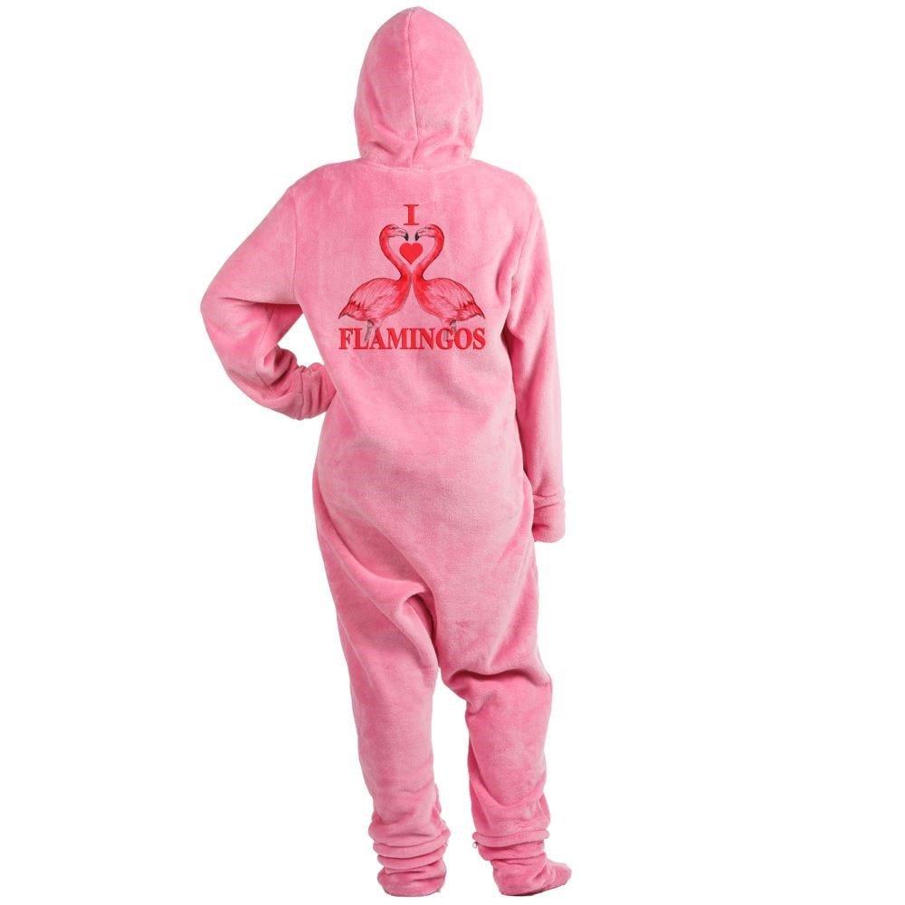 CafePress - I Love Flamingos - Novelty Footed Pajamas, Funny Adult One-Piece PJ Sleepwear