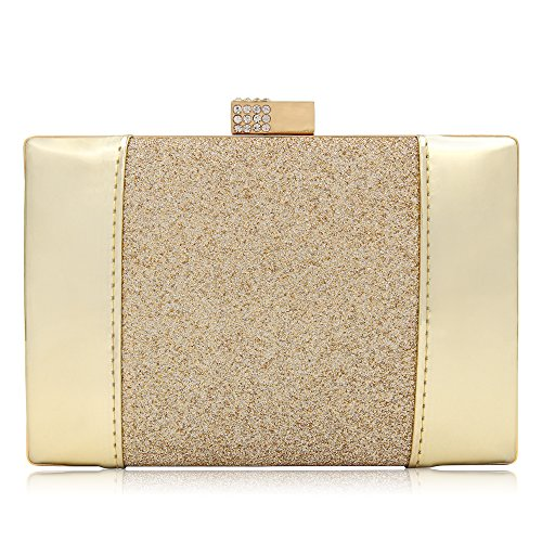 Leather Small Evening Bag (Women Patent Leather Clutches Glitter Evening Bag Cutch Purses Handbags With Strap (Gold))