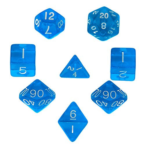 7 + 1 Polyhedral Dice Set - Blue - Translucent - For RPG, Roleplaying Games - D4, D6, D8, D10, D12, D20 Sided Dices with Velvet Bag - By (Light Sapphire Pale)