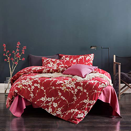 Japanese Oriental Style Cherry Red Blossom Floral branches Print Duvet Quilt Cover 300tc Cotton Bedding 3 piece Set -