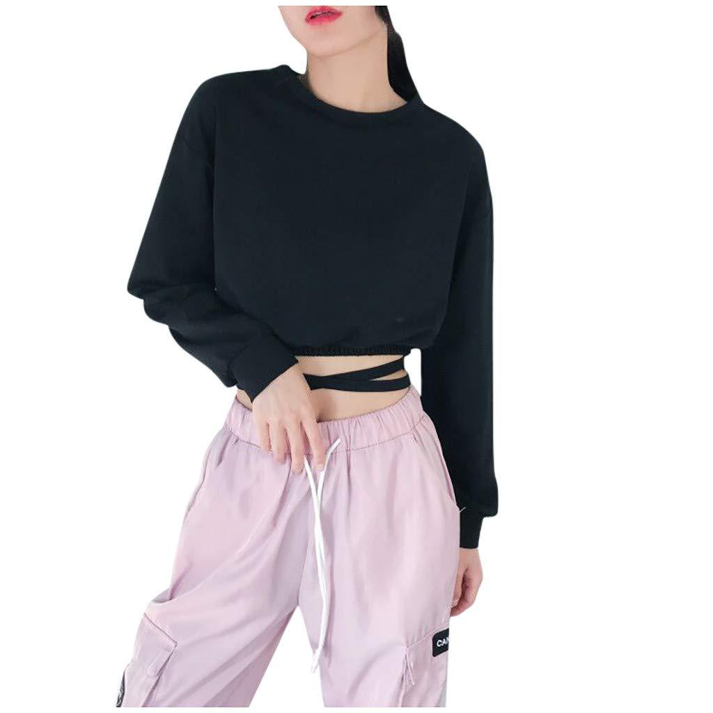 Quartly Women Top Bandage Shirt Long Sleeve Sweatshirt Casual Loose Blouse Pullover Solid Shirts Tops(Black.M)