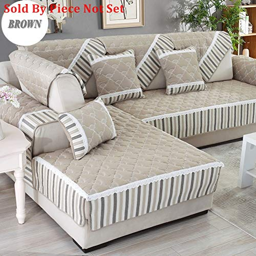 Anti-Slip Quilted Furniture Protectors Covers for pet Dog,All Season Sofa slipcover Modern Cotton Sectional Sofa Throw Cover pad for l U Shaped Sofa-1 Piece-C 28x94inch(70x240cm)
