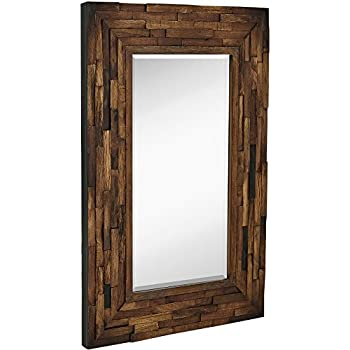 wood framed vanity mirrors farmhouse style hamilton hills rustic natural wood framed wall mirror solid construction glass vanity bedroom or bathroom hangs horizontal vertical amazoncom jwh living with frame home