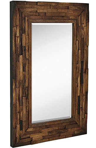 Rustic Natural Wood Framed Wall Mirror | Solid Construction Glass Wall Mirror | Vanity, Bedroom, or Bathroom | Hangs Horizontal or Vertical | 100% (24
