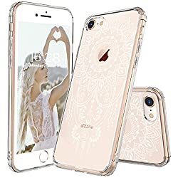 iPhone 8 Case, iPhone 8 Case Clear, MOSNOVO White Henna Mandala Tattoo Pattern Printed Clear Design Plastic Back with TPU Bumper Protective Case Cover for Apple iPhone 8 (2017)