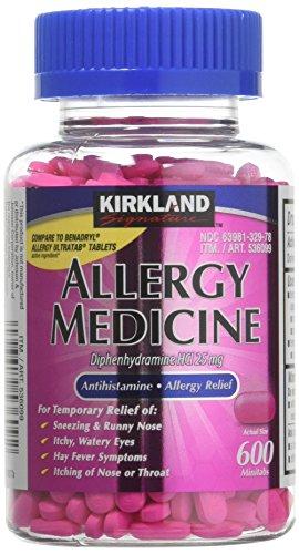 (Diphenhydramine HCI 25 Mg - Kirkland Brand - Allergy Medicine and AntihistamineCompare to Active Ingredient of Benadryl® Allergy Generic 1200 Count )