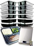 Fuelbear Meal Prep Containers and Digital Food Scale Bundle | 3-Compartment, Reusable Bento Boxes | BPA-Free, Freezer and Microwave Safe Plastic | Airtight, Leakproof Lids | 14-Count