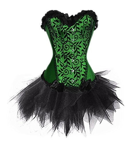 Poison Ivy Corset (Zanuce Women's Plus Size Lace Up Boned Corset Bridal Lingerie Tutu Skirt,Green,X-large)