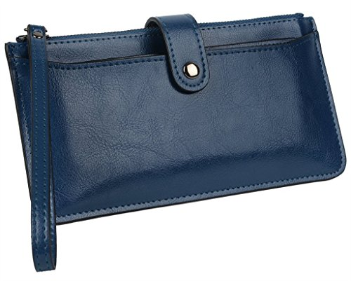 YALUXE Women's Large Capacity Leather Zipper Wrislet Wallet With Removable Card Holder
