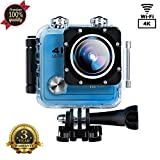 Sports Camera Sport Video 4K 1080P HD WIFI Action Camera 16MP Waterproof Camcorder Underwater 30M Cam with 170 Wide Angle Rechargeable Battery DV Blue