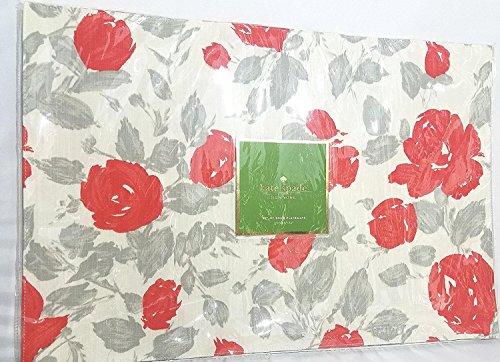 (Kate Spade Garden Rose  Placemats Set of 4, Grey/Coral)