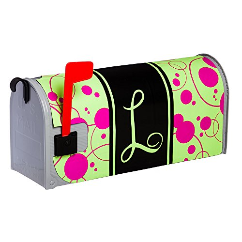 Line Standard Sized Monogram - Mailbox Magnetic Pink/Green Monogram Polka Dot