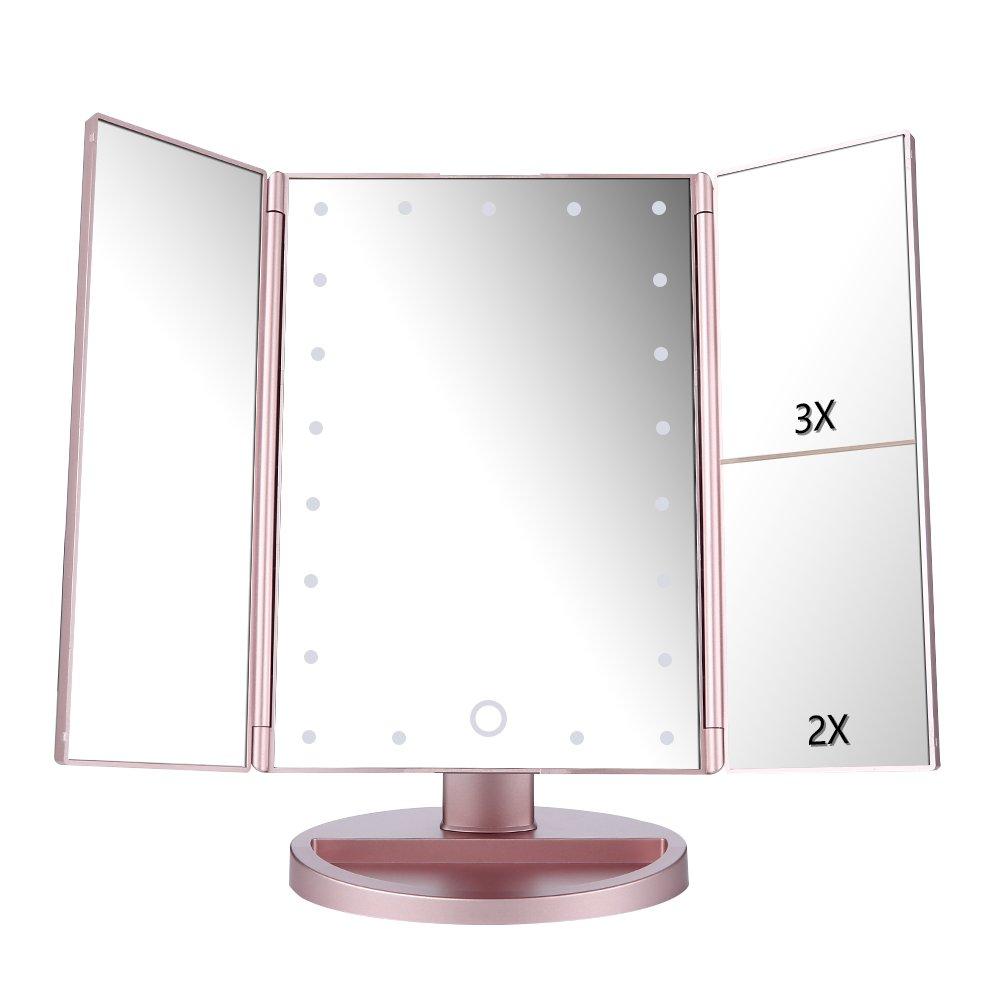 EASEHOLD Make-up-Spiegel, Vergrößerung 1x/2x/3x, Spiegel mit Beleuchtung, dreiseitig LED-beleuchteter Tisch-Kosmetikspiegel, dimmbar durch Touchscreen, 180°-Rotation, (Roségold) 180°-Rotation (Roségold) Optional DJZ006GR