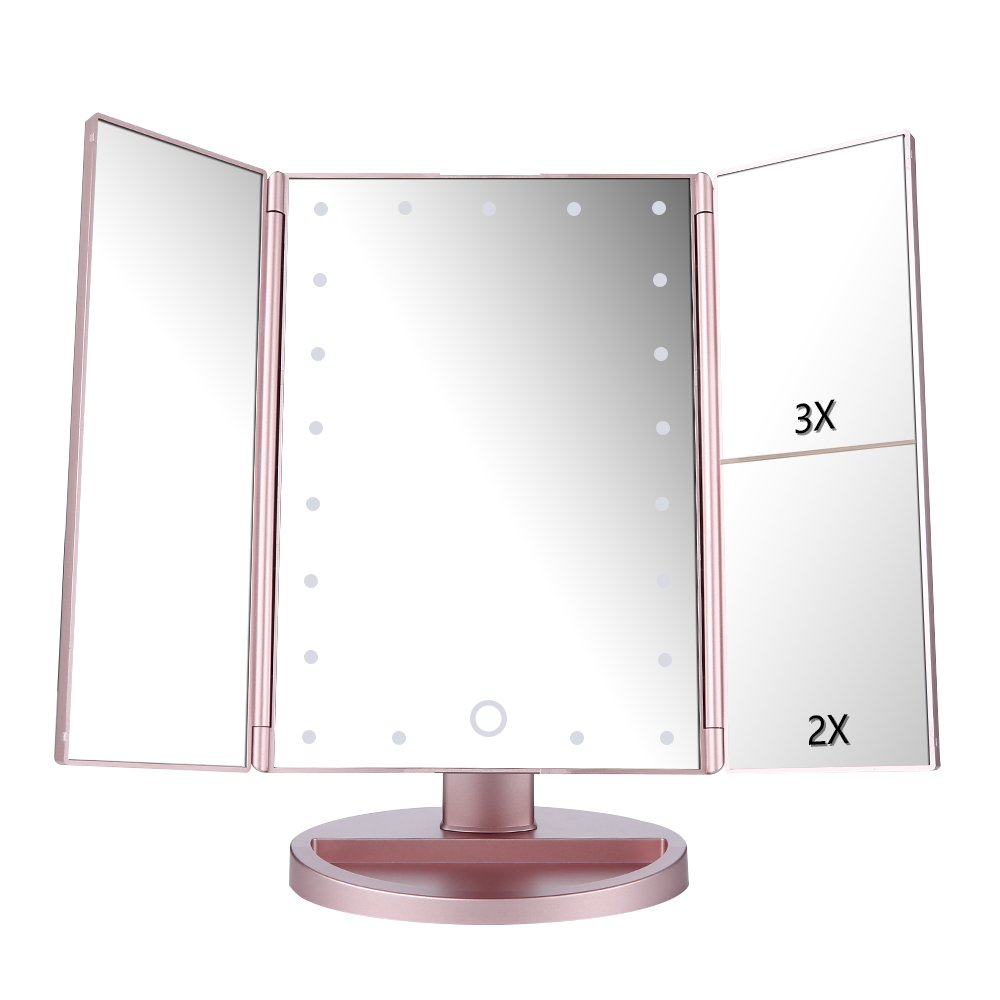 Easehold Vanity Makeup Mirror with 2 X 3X Magnifiers 21 LED Lights Tri-Fold 180 Degree Adjustable Countertop Cosmetic Bathroom, Rose Gold by Easehold