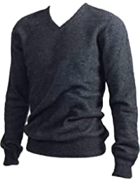 New Zealand Wool/Brushtail Possum Blend Rack Stitch V-Neck Jersey Men's