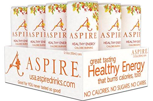 Healthy Beverage (ASPIRE Healthy Energy, Calorie Burning, Zero Calorie, Zero Sugar Drink Mango Lemonade 12 count case)
