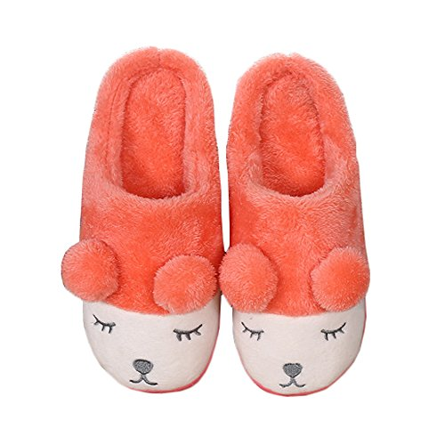Jaderich Cute Sheep Character Cosy Fleece Warm Zapatillas De Interior Naranja