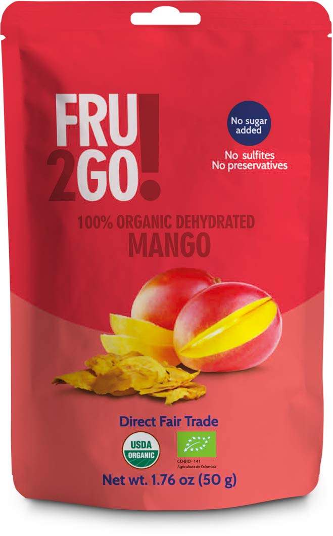 Fru2Go Organic, Dehydrated Mango Slices - 1.76 oz (Pack of 12) - No Sugar Added - All-Natural Mangoes - Raw - Unsulfured - Direct Fair Trade Fruit - from Colombia