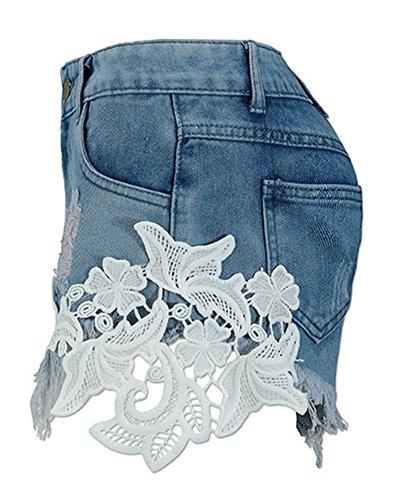 Come Alta Corti Pantaloncini Vita Hot Donna Cuciture Immagine Pizzo Distressed Shorts Denim Jeans Nappa Pants gYqOaIOw