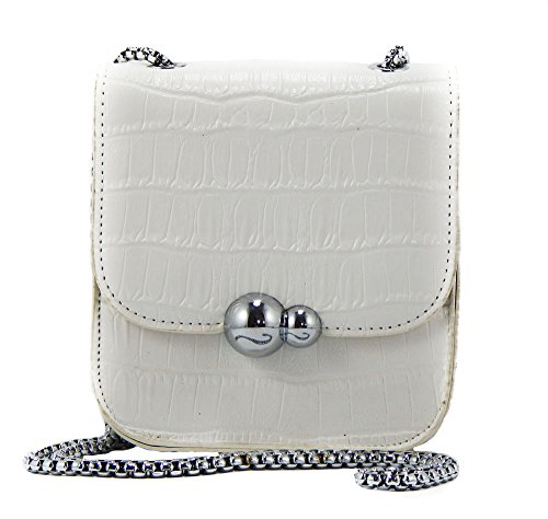 Snakeskin Embossed Cell Phone Mini-Purse - Crossbody - Shoulder (White) by To Go Go ()